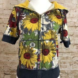 Lucky Brand short sleeve sunflower jacket size S